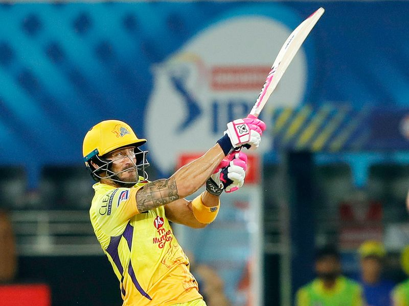 Faf du Plessis of Chennai Superkings hits a boundary.