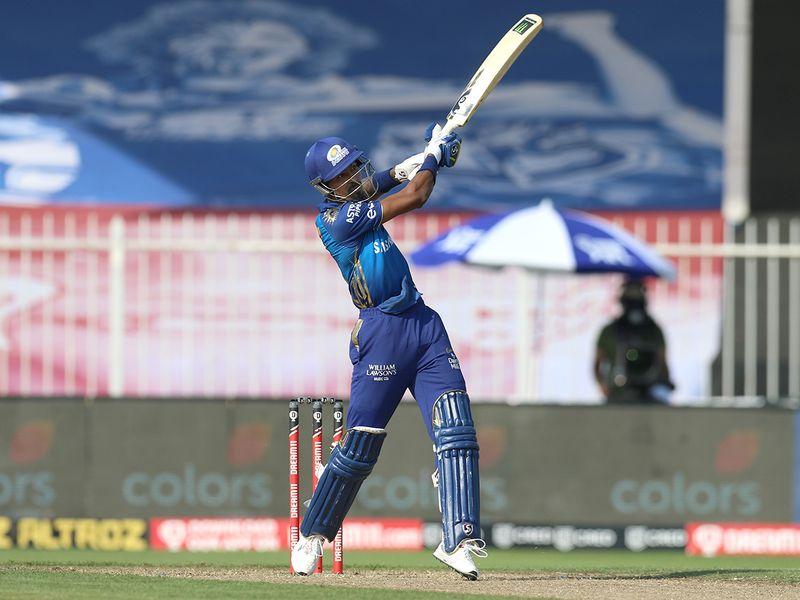 Hardik Pandya of Mumbai Indians hits a six.