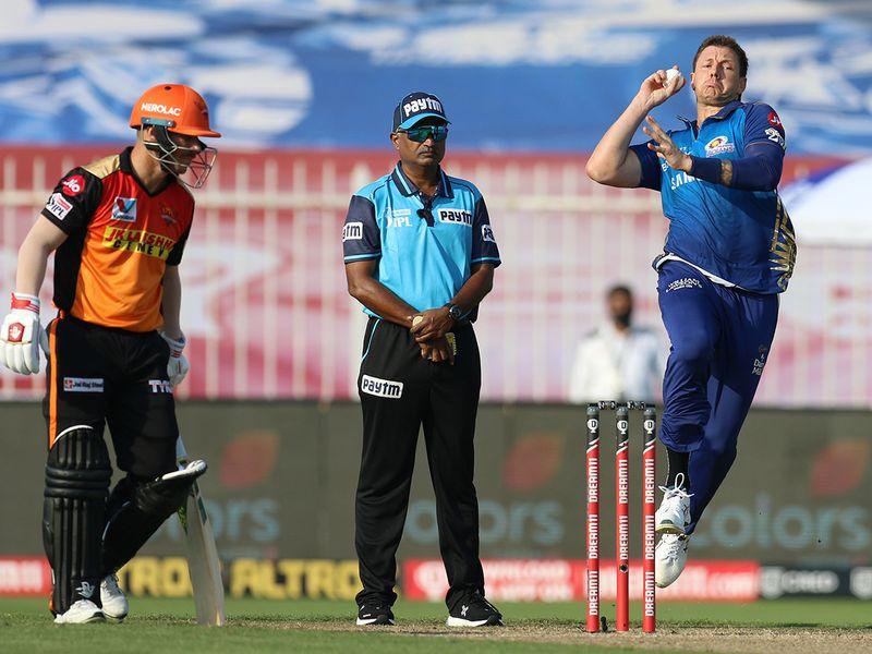 James Pattinson of Mumbai Indians bowls during the match.