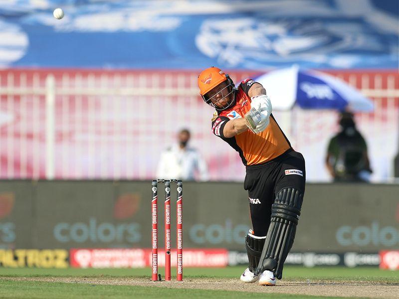 Jonny Bairstow of Sunrisers Hyderabad hits a six.