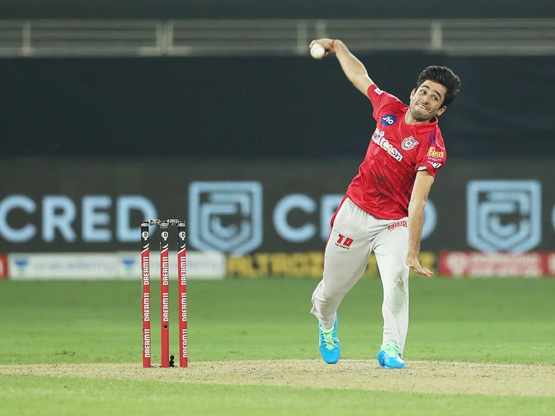 Ravi Bishnoi of Kings XI Punjab in action during the match.