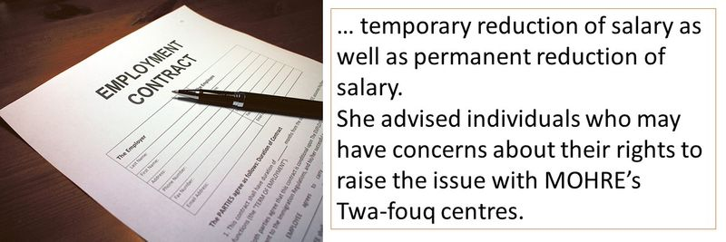 She advised individuals who may have concerns about their rights to raise the issue with MOHRE's  Twa-fouq centres.