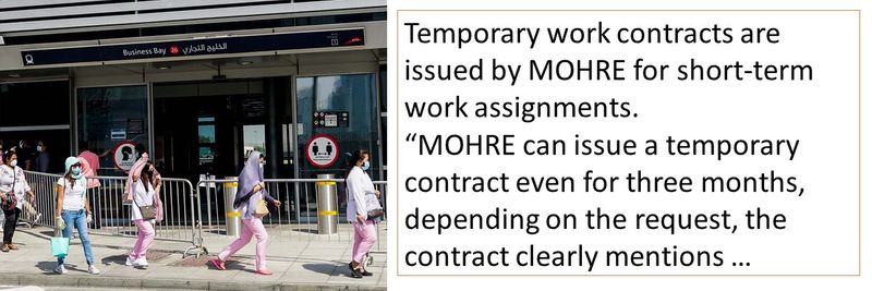 Temporary work contracts are issued by MOHRE for short-term work assignments.