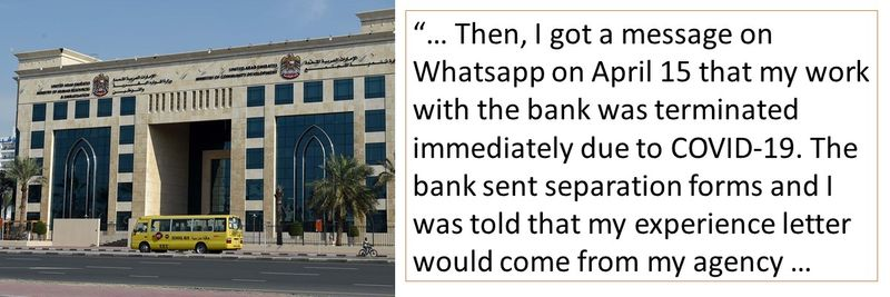 The reader was informed on Whatsapp that her contract was terminated.