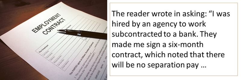 The reader worked for a bank, but was subcontracted through an agency.