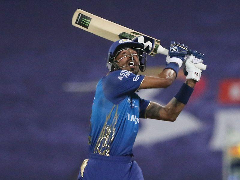 Hardik Pandya of Mumbai Indians plays a shot .
