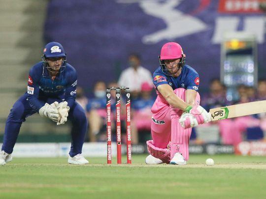 Jos Buttler of Rajasthan Royals plays a shot.
