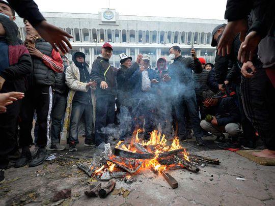 Kyrgyz government headquarters protests