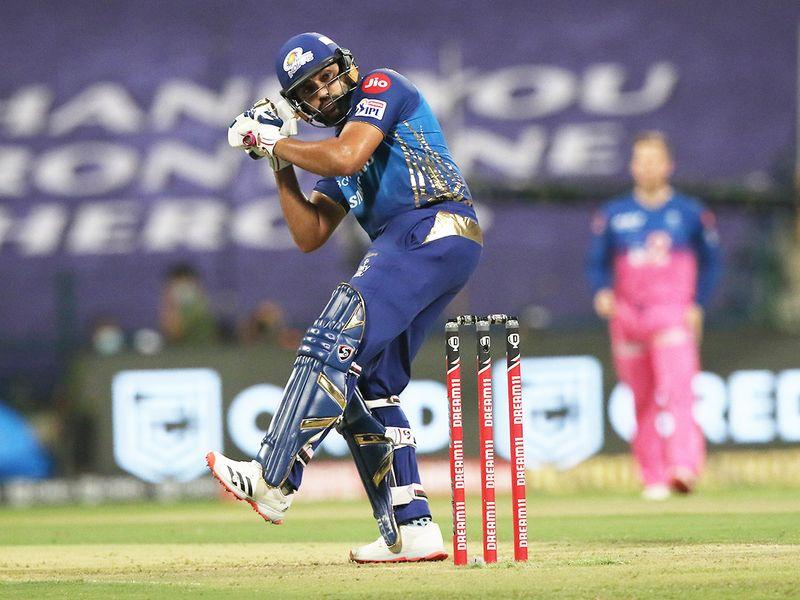 Rohit Sharma, captain of Mumbai Indians, plays a shot.