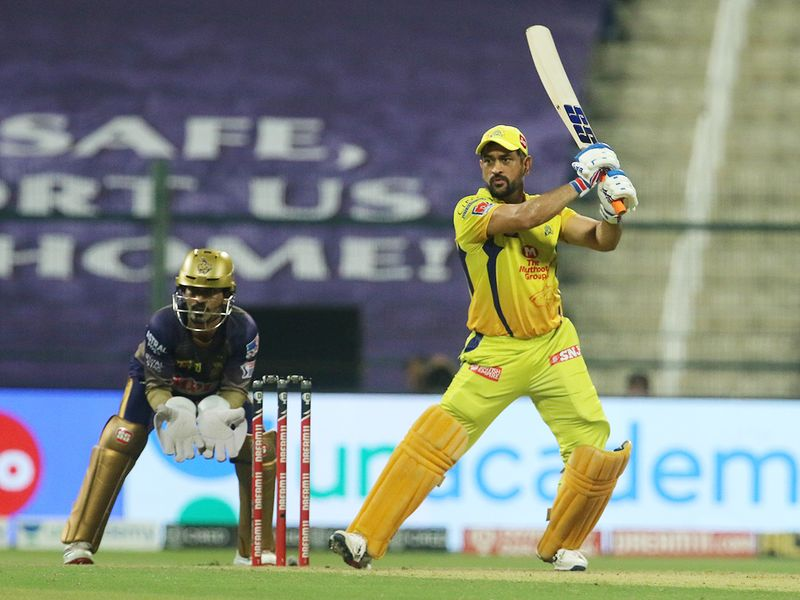 MS Dhoni, captain of Chennai Superkings, plays a shot.