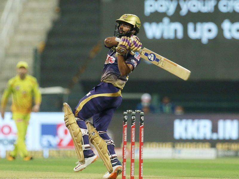 Rahul Tripathi of Kolkata Knight Riders hits a boundary.