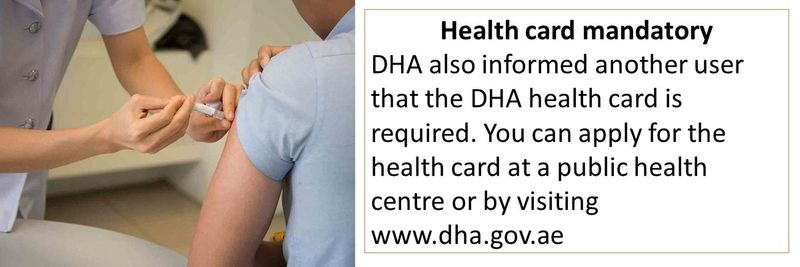 You can apply for the health card at a public health centre or by visiting www.dha.gov.ae