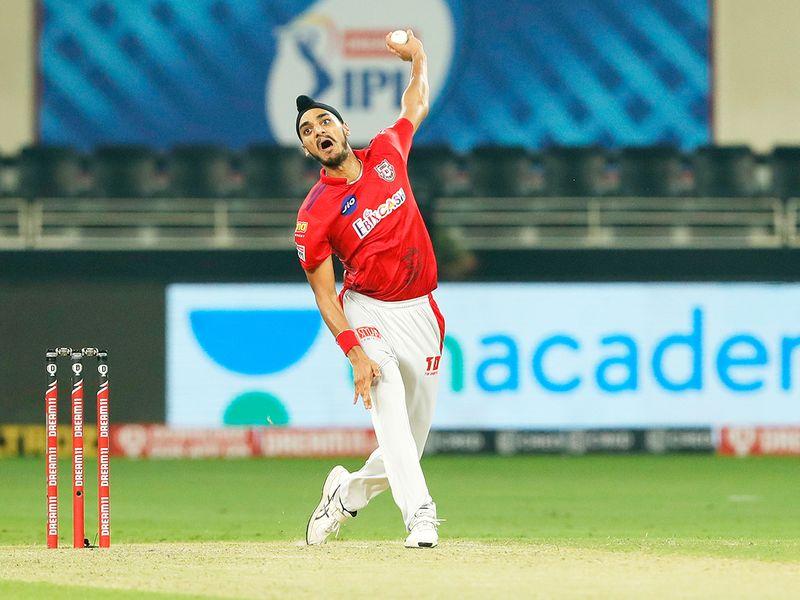 Arshdeep Singh of Kings XI Punjab bowls during the match.