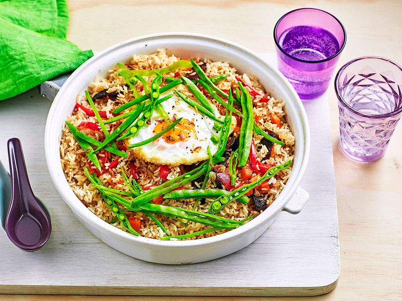 Chinese pilaf topped with egg