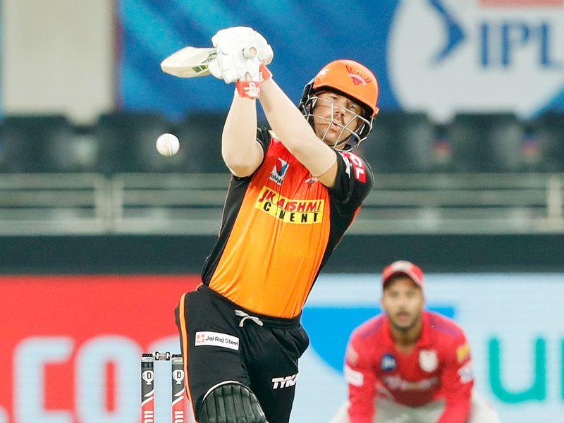 David Warner of Sunrisers Hyderabad plays a shot.