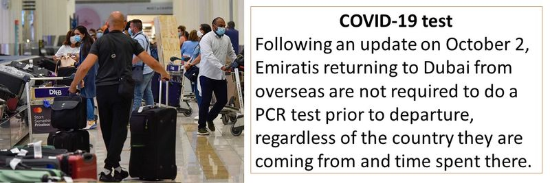 Emiratis returning to Dubai from overseas are not required to do a PCR test prior to departure, regardless of the country they are coming from and time spent there.