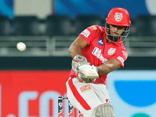 Nicholas Pooran of Kings XI Punjab plays a shot.