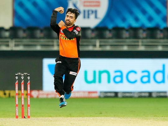 Rashid Khan of Sunrisers Hyderabad bowls during the match.