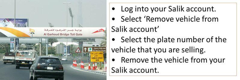 鈥�Log into your Salik account. 鈥�Select 鈥楻emove vehicle from Salik account鈥� 鈥�Select the plate number of the vehicle that you are selling. 鈥�Remove the vehicle from your Salik account.