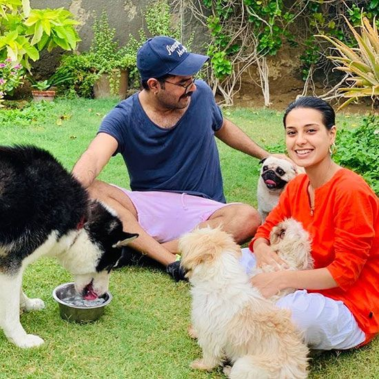 Yasir Hussain and Iqra Aziz with pets
