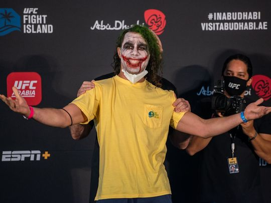 Markus Perez as The Joker at the UFC weigh-ins in Abu Dhabi
