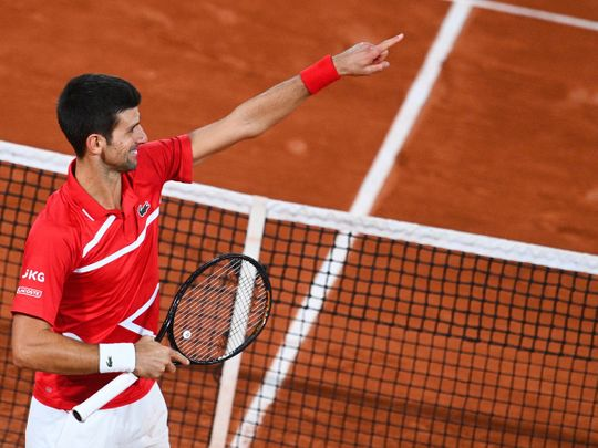 Novak Djokovic eventually saw off Stefanos Tsitsipas in the French Open semis.