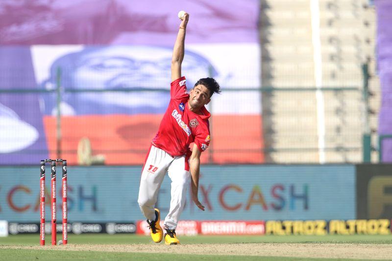 Ravi Bishnoi of Kings XI Punjab bowls during the match.