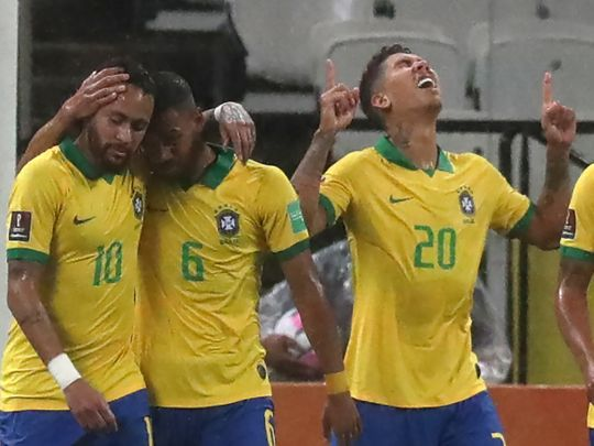 Robert Firmino scored twice for Brazil against Bolivia