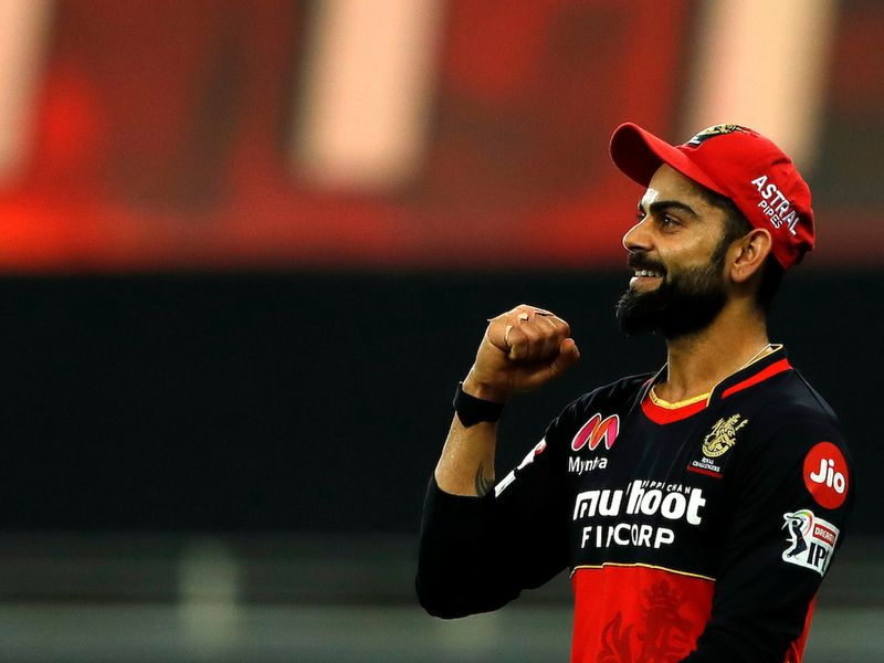 Royal Challengers Bangalore skipper Virat Kohli celebrates against Chennai Super Kings in Dubai