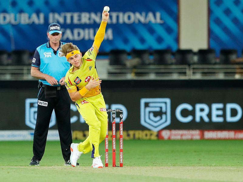Sam Curran of Chennai Superkings bowls during the match.
