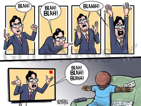 20201011 Cartoon from Satish: Fake TRP case shocks the nation