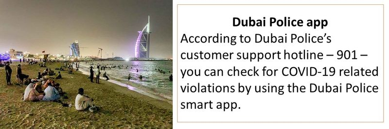 According to Dubai Police's customer support hotline – 901 – you can check for COVID-19 related violations by using the Dubai Police smart app.