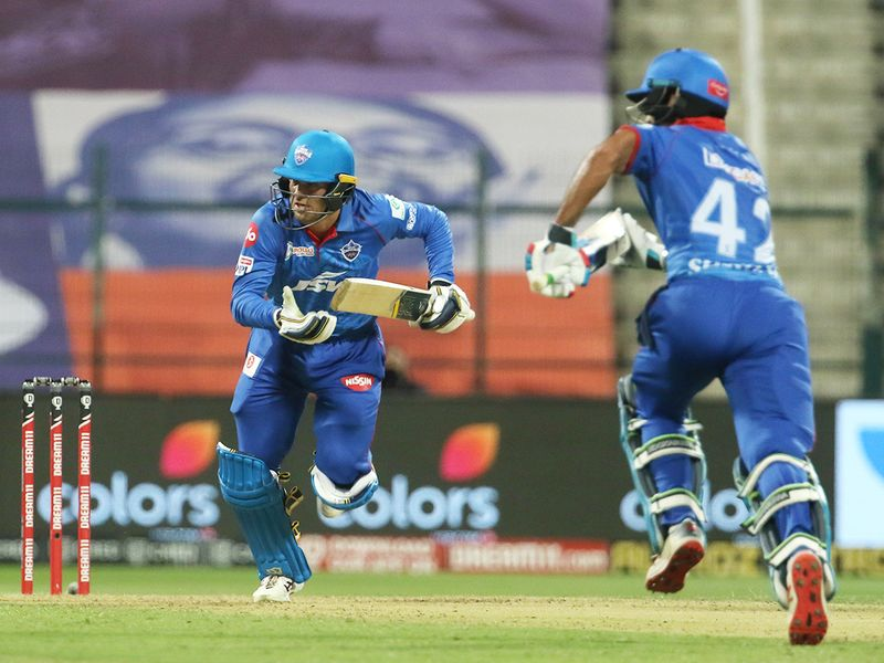 Alex Carey and Shikhar Dhawan of Delhi Capitals