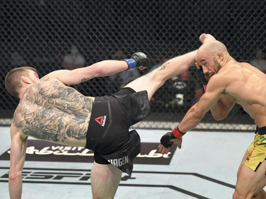 Cory Sandhagen took out Marlon Moraes wih a spinning kick at UFC Fight Island 5 in Abu Dhabi.