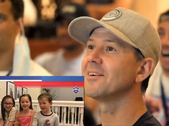 Delhi Capitals tough-guy' head coach Ricky Ponting beams as he gets a message from back home in Australia during IPL 13 in the UAE