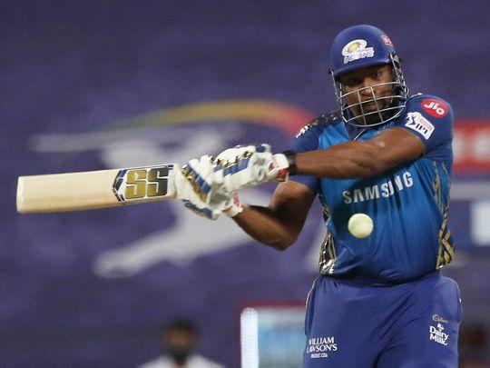 Kieron Pollard of Mumbai Indians plays a shot.