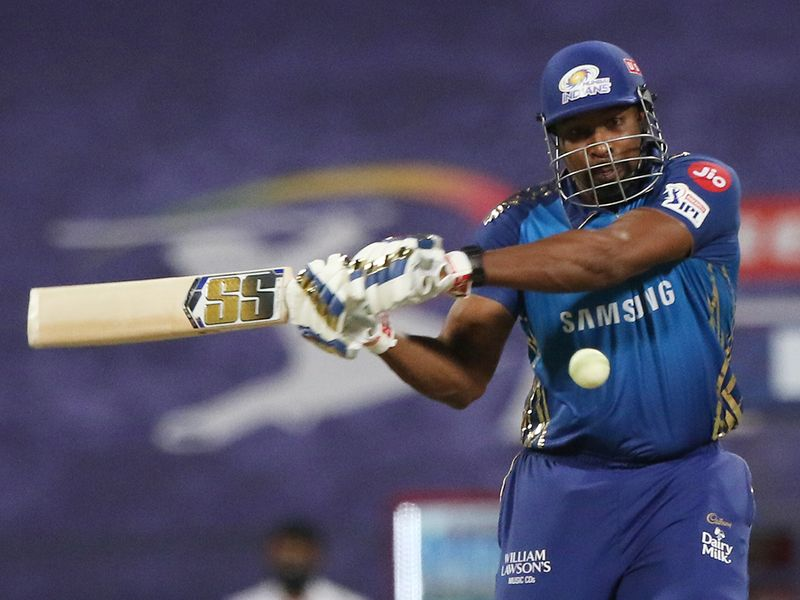 Kieron Pollard of Mumbai Indians plays a shot.