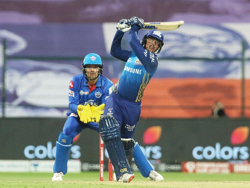 Quinton de Kock of Mumbai Indians plays a shot.