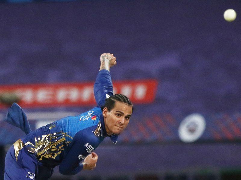 Rahul Chahar of Mumbai Indians bowls.
