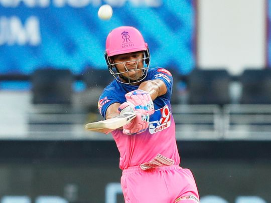 Riyan Parag of Rajasthan Royals plays a shot.