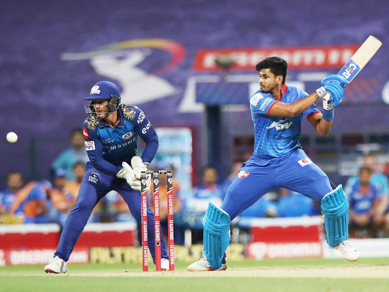 Shreyas Iyer, captain of Delhi Capitals, plays a shot.