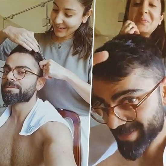 Anuska giving virat a hair cut