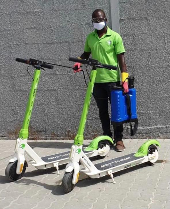 Picture of a KIWIride e-scooter being sanitised.