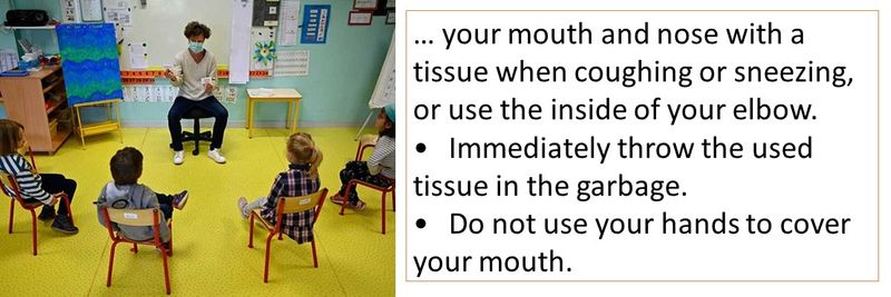 •Immediately throw the used tissue in the garbage. •Do not use your hands to cover your mouth.