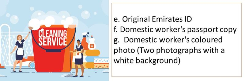 e. Original Emirates ID f. Domestic worker's passport copy g.  Domestic worker's coloured photo (Two photographs with a white background)