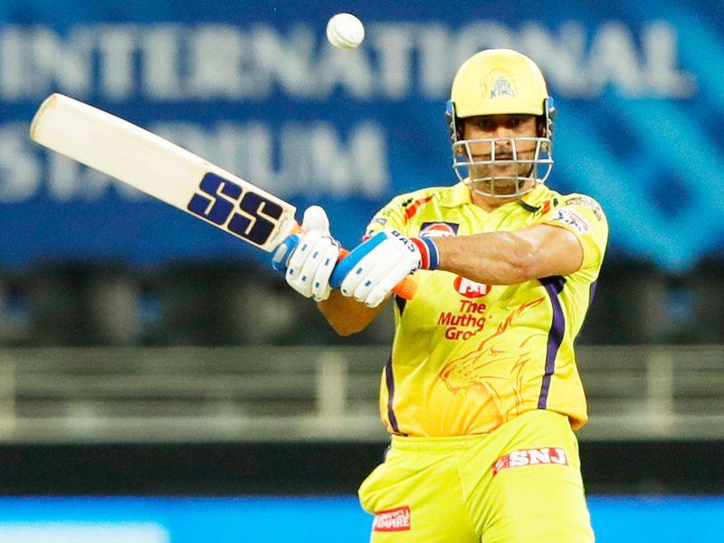 Chennai Super Kings skipper MS Dhoni bats during the match.