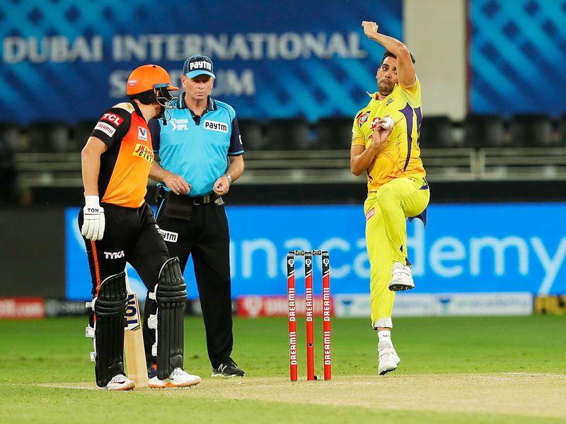 Deepak Chahar of Chennai Super Kings bowls.