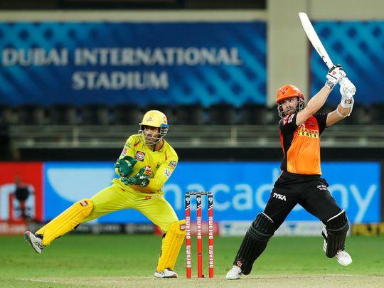 Kane Williamson of Sunrisers Hyderabad plays a shot.