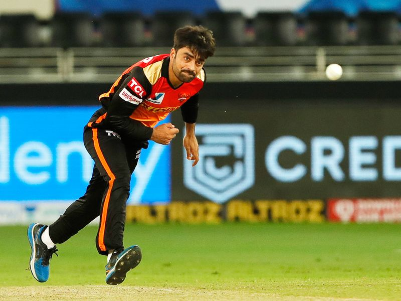 Rashid Khan of Sunrisers Hyderabad bowls during the match.