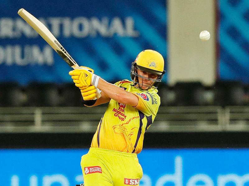 Sam Curran of Chennai Super Kings hits a boundary.